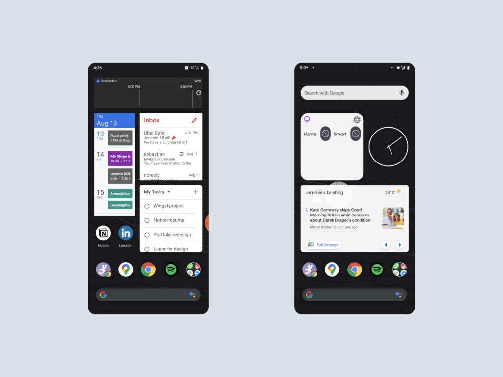 screenshot of android with widget