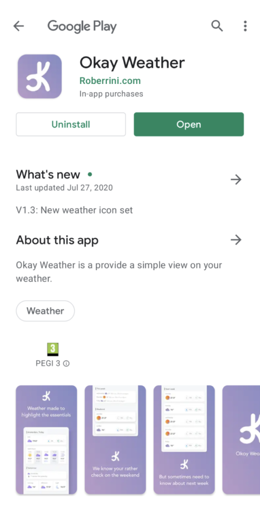 okay weather store listing